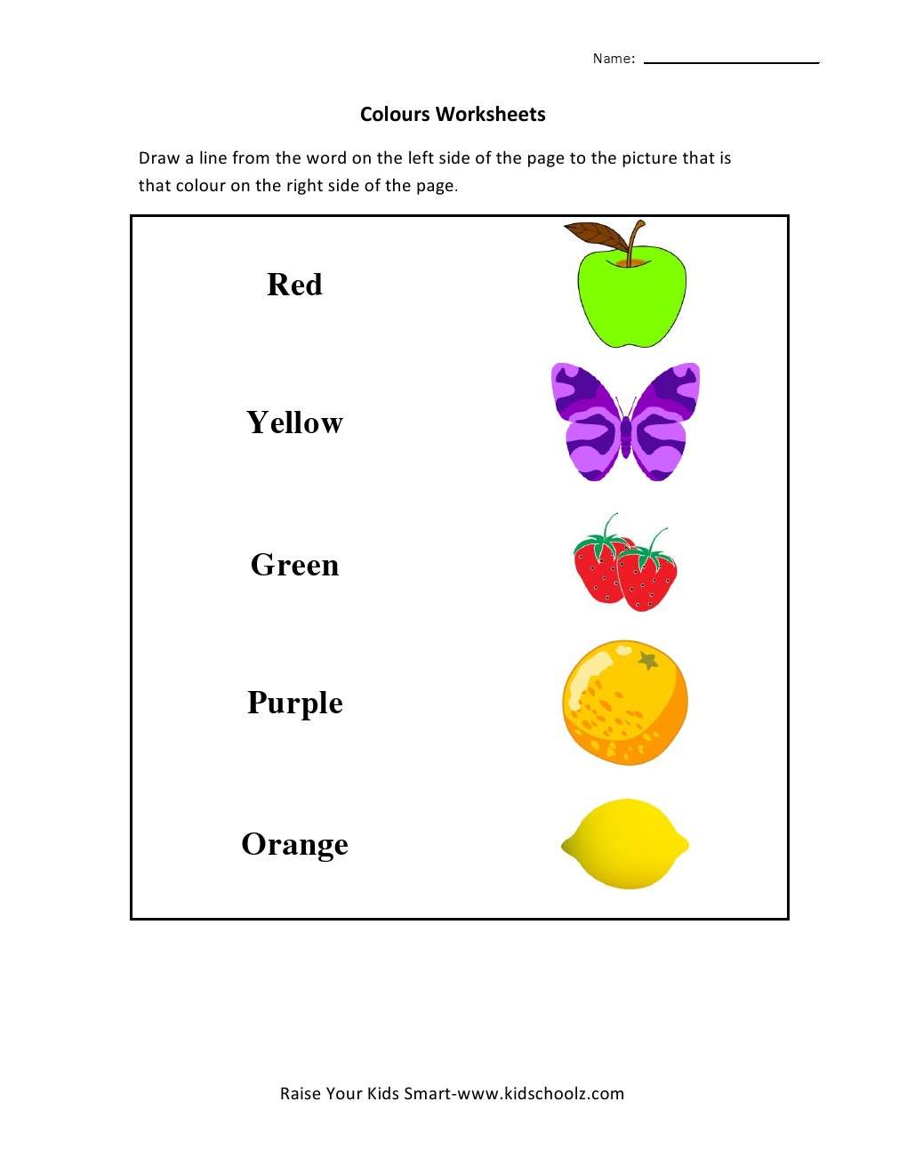 Colours Matching Worksheet - Kidschoolz