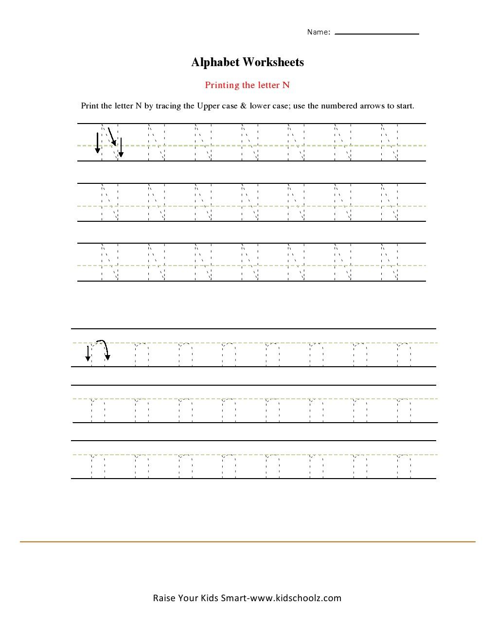 Alphabets Tracing Worksheets - Letter N - KidschoolzKidschoolz