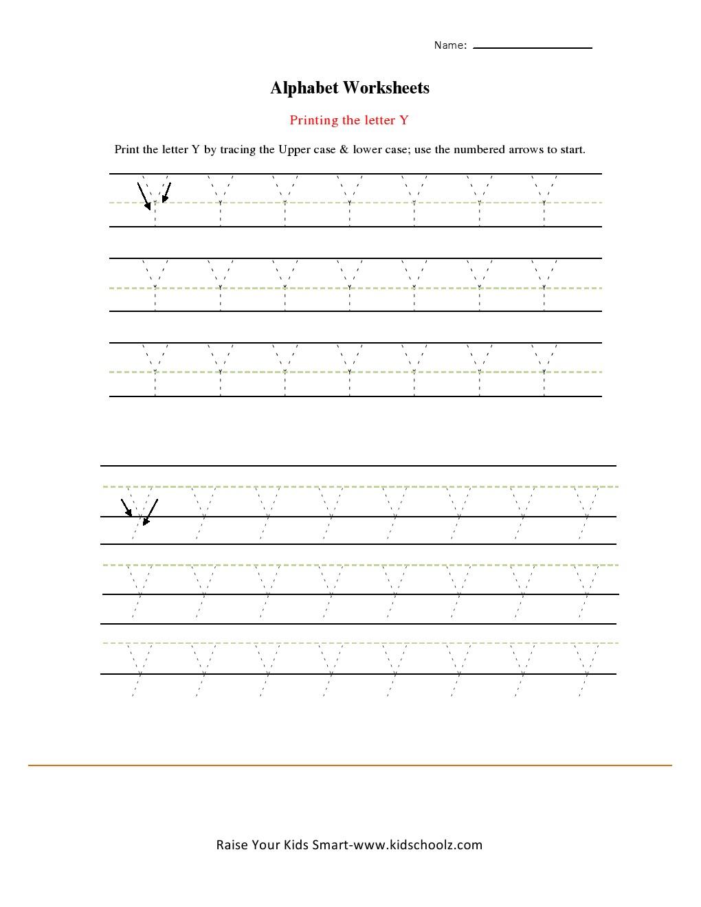 alphabets tracing worksheets letter y kidschoolz. Black Bedroom Furniture Sets. Home Design Ideas
