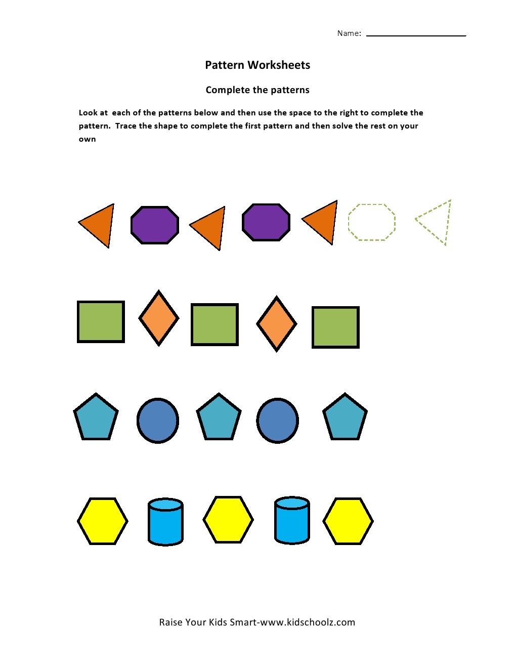 Shapes Pattern Recognition Worksheets - Kidschoolz