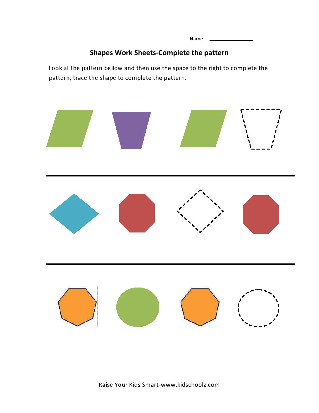 Shapes Pattern Recognition Worksheets - Kidschoolz
