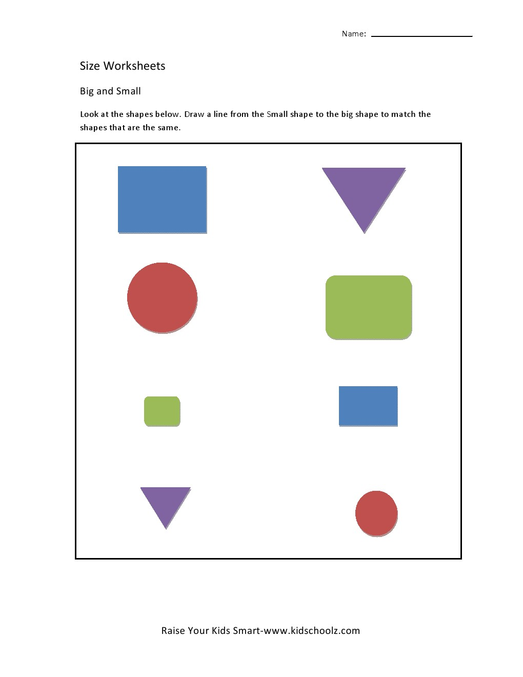 Size Worksheets - Matching Shapes -