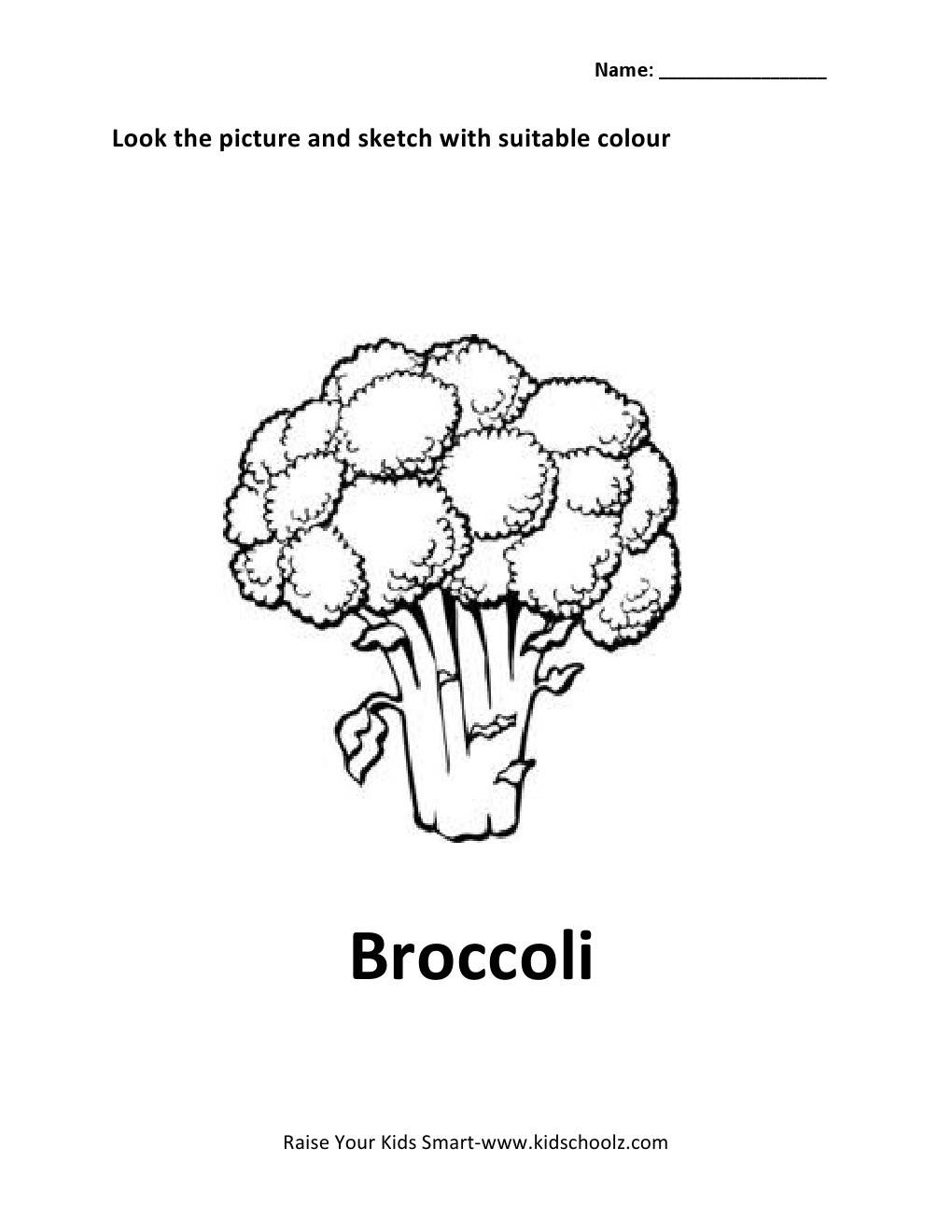 illustration of broccoli vegetable food object for coloring book Car