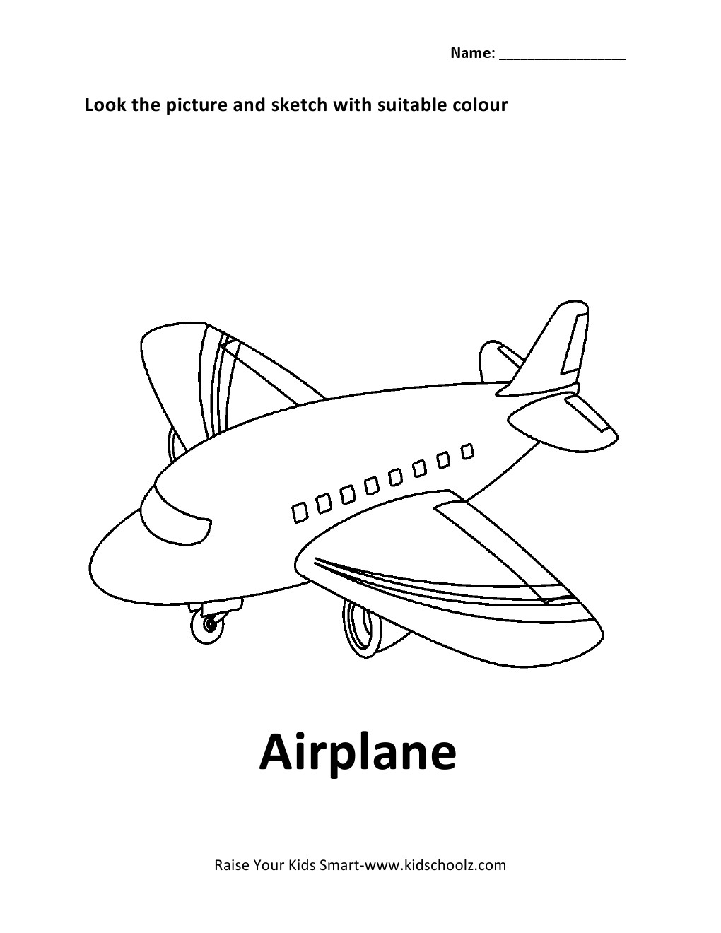 Vehicles Colouring Worksheet - Airplane -