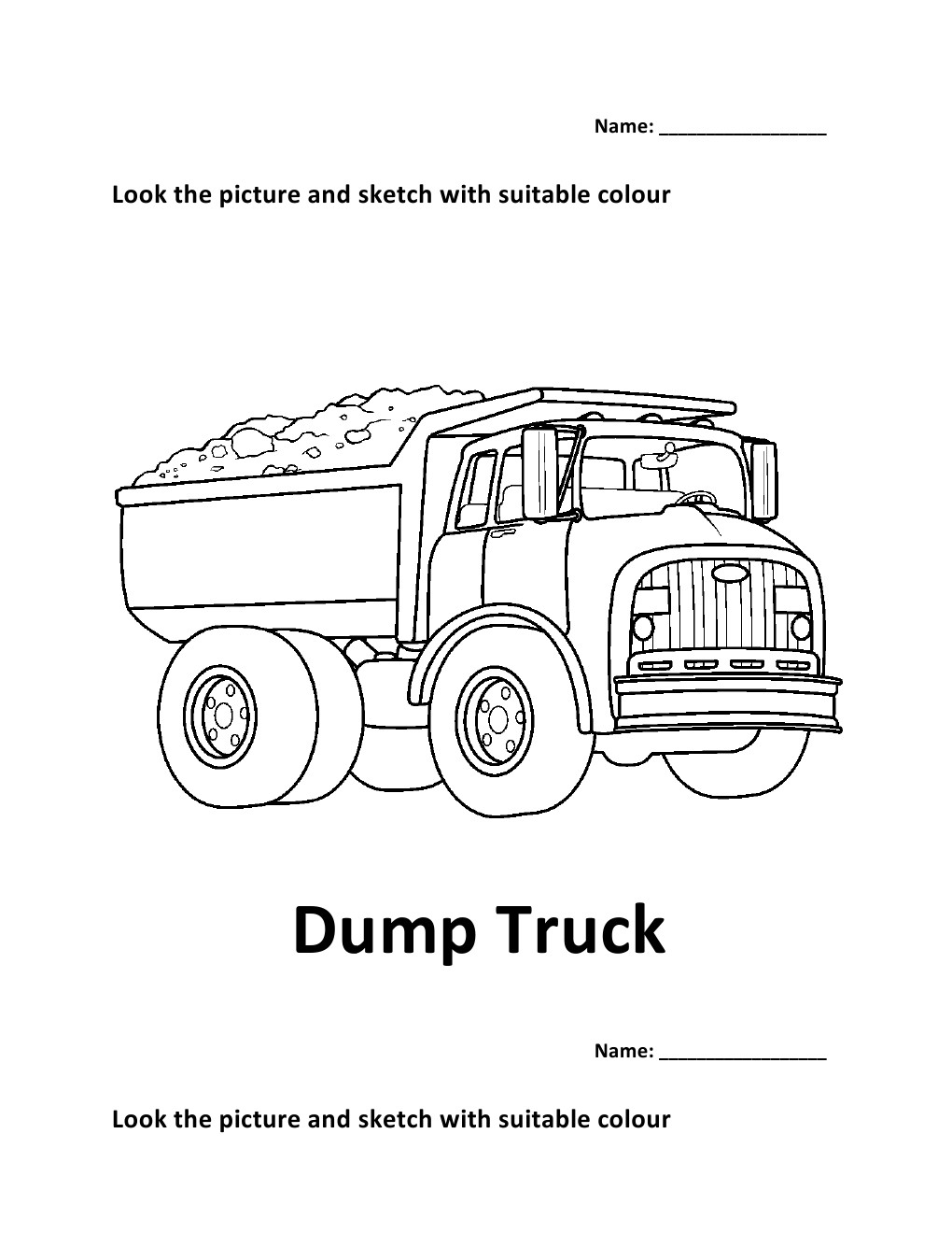 Colouring sheets for lkg - Colouring Worksheets For Lkg Vehicles Colouring Worksheet Dump Truck