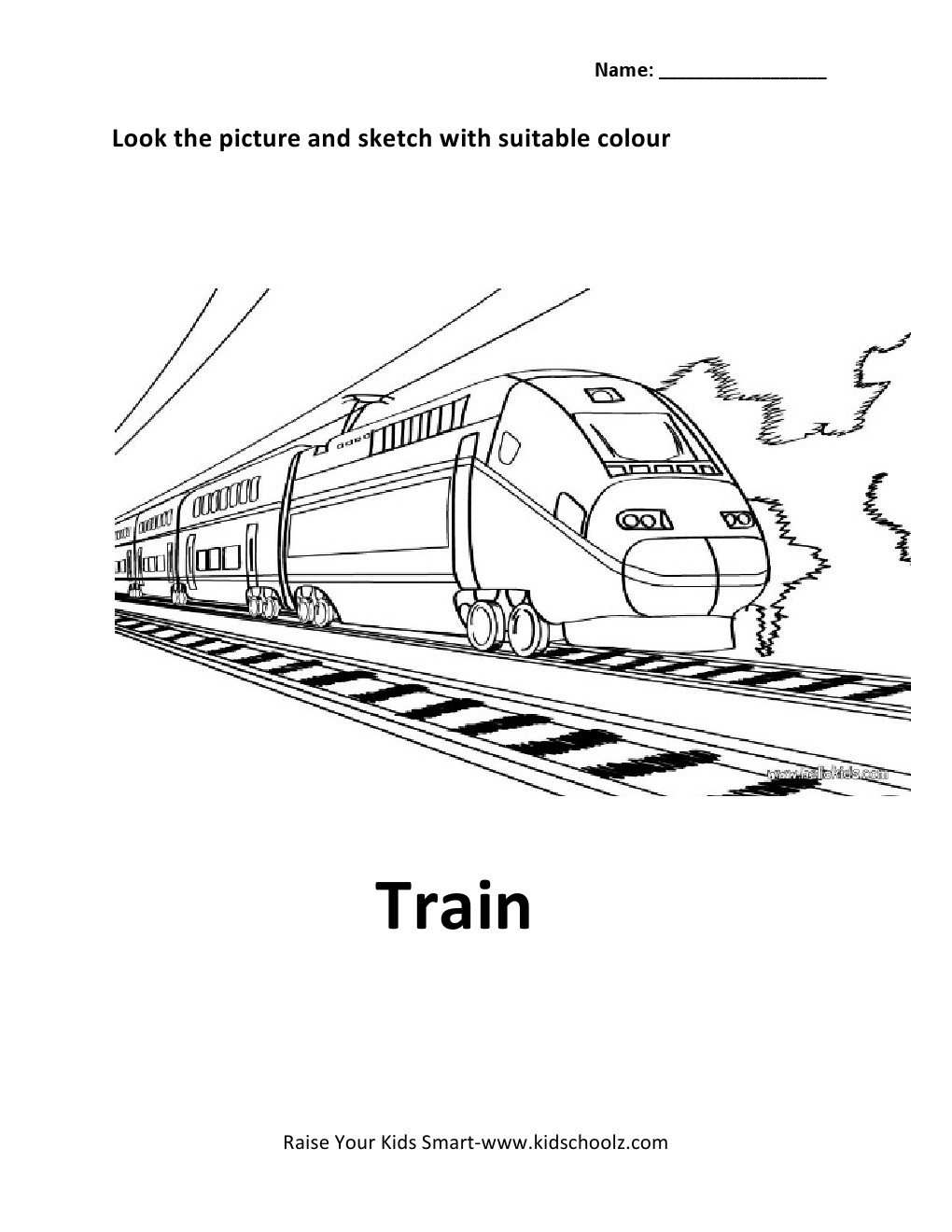Colouring sheets for lkg - Colouring Worksheets For Lkg Vehicles Colouring Worksheet Train