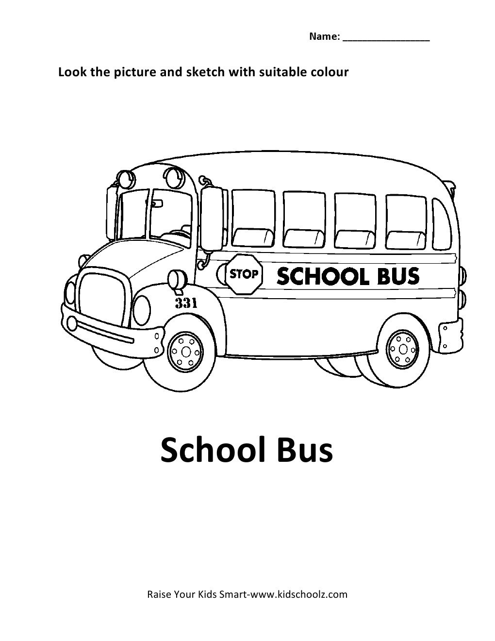 Colouring sheets for lkg - Coloring Worksheets For Lkg Vehicles Colouring Worksheet School Bus