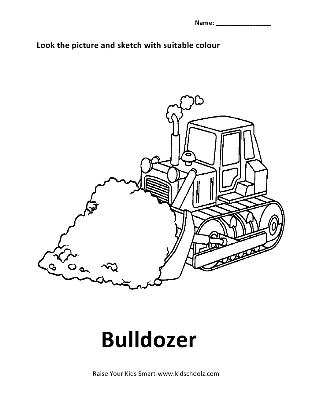 vehicles colouring worksheet bulldozer kidschoolz