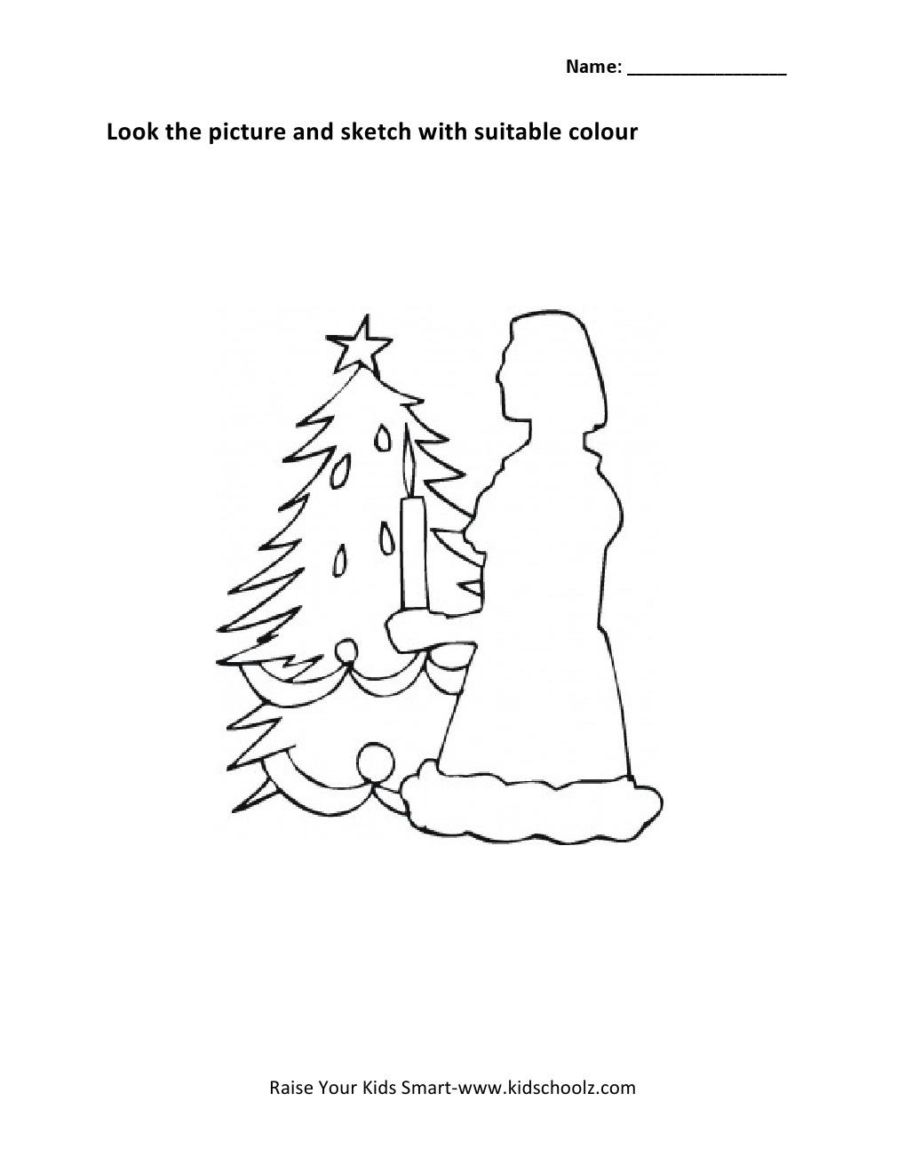 Colouring worksheets for lkg - Z Colouring Worksheets Christmas Colouring Worksheet Kidschoolzkidschoolz
