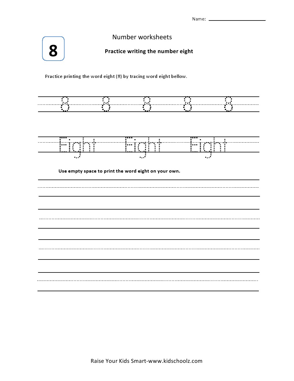 Tracing Numbers Worksheets - Eight - Kidschoolz