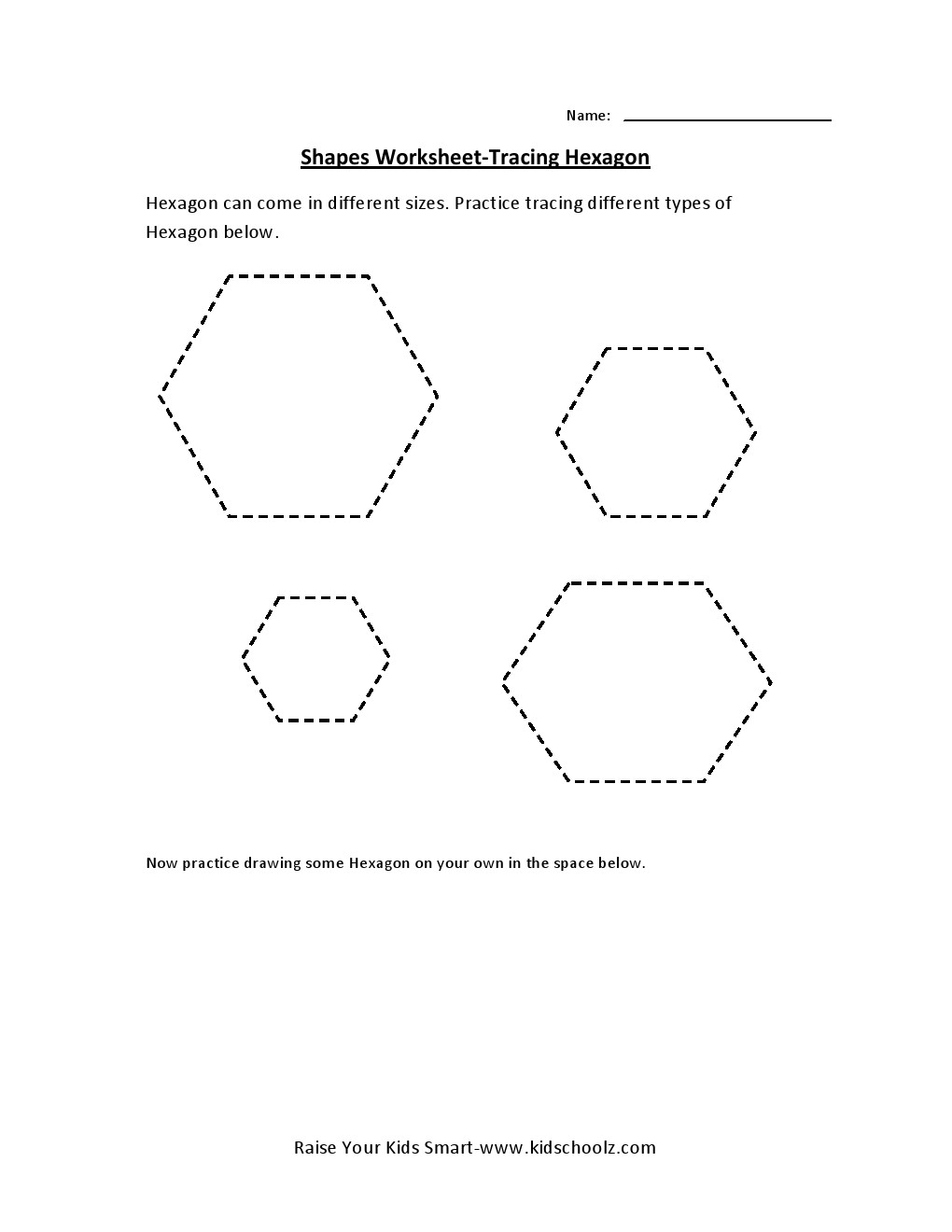 Tracing Worksheets - Hexagon -