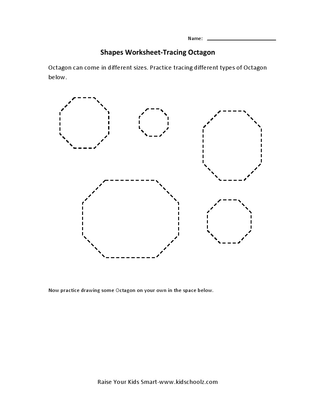 Tracing Worksheets - Octagon -