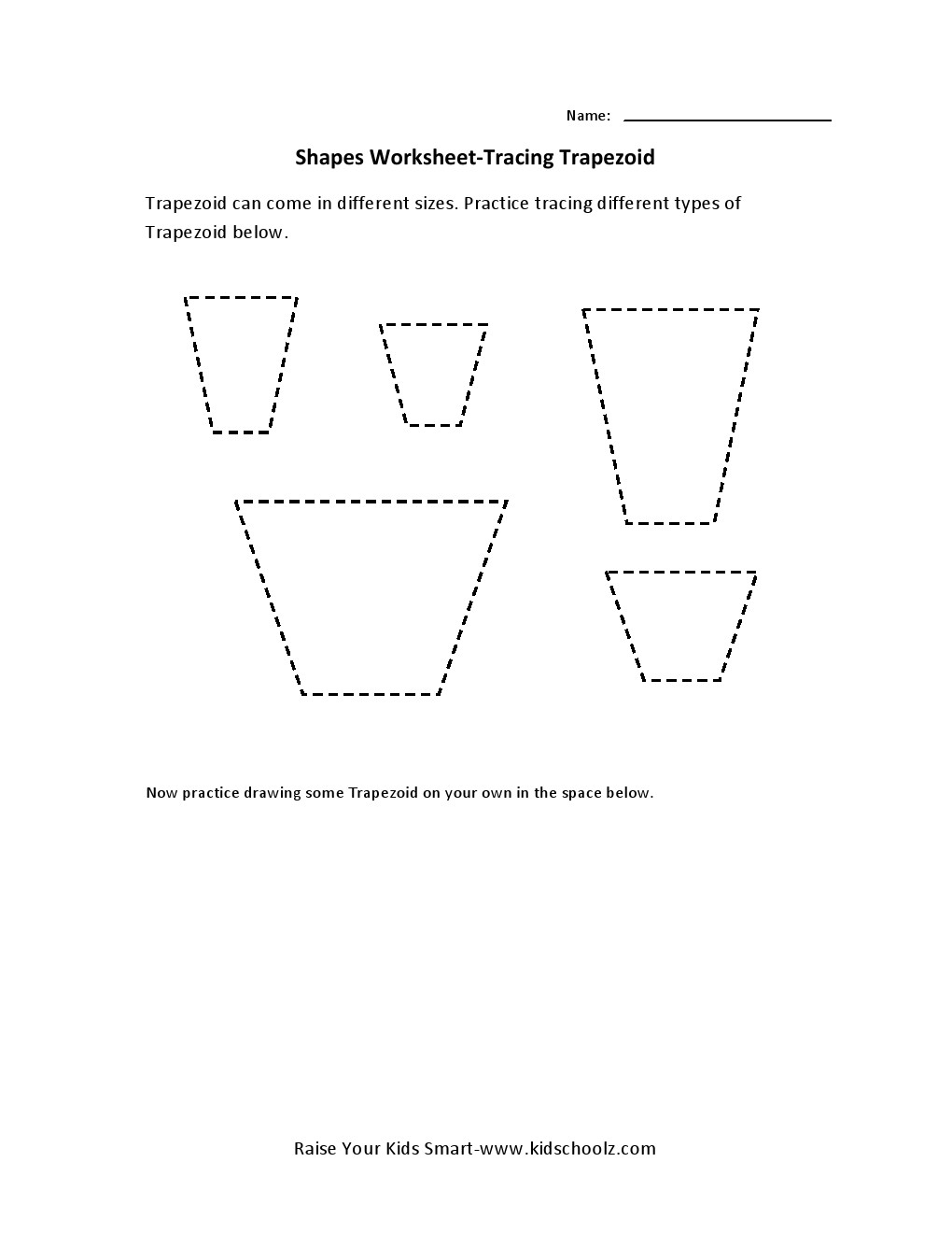 Tracing Worksheets - Trapezoid -