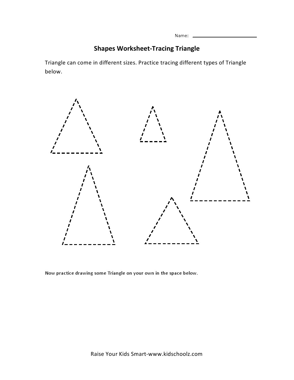 tracing worksheets triangle kidschoolz. Black Bedroom Furniture Sets. Home Design Ideas