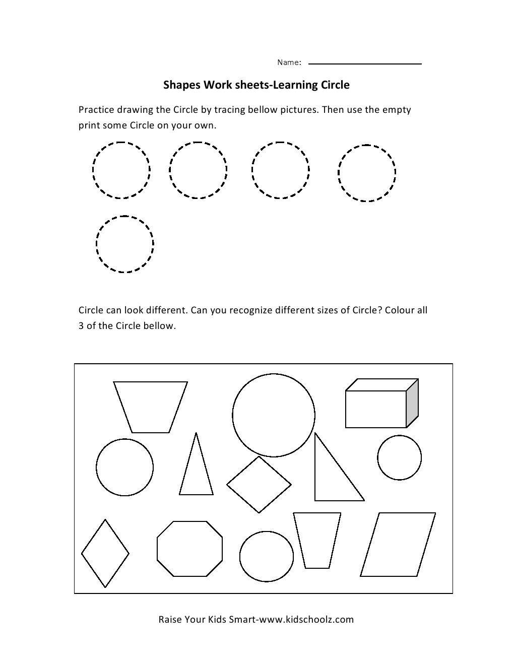 Uncategorized Circles Worksheet worksheet circle fiercebad and essay site learning shapes worksheets download