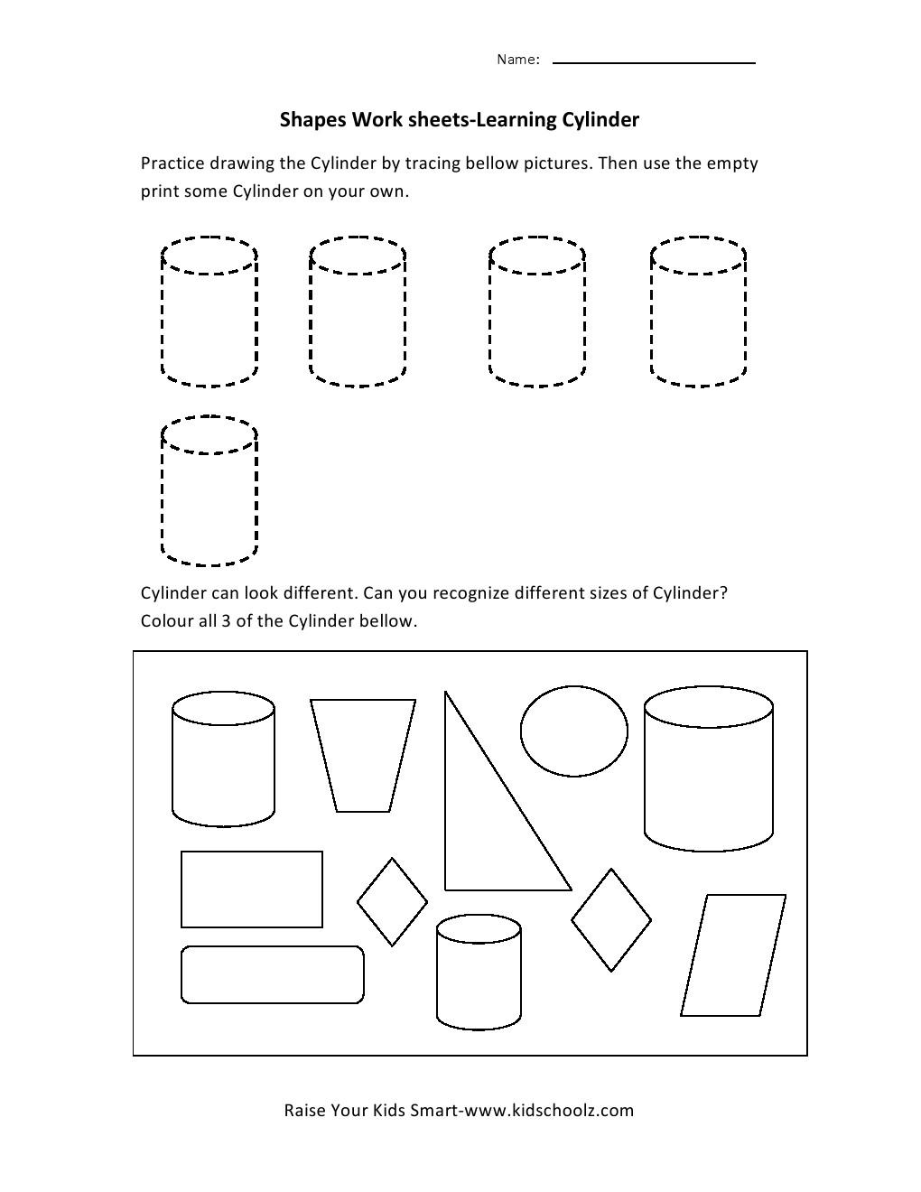 Learning Shapes Worksheets - Cylinder -