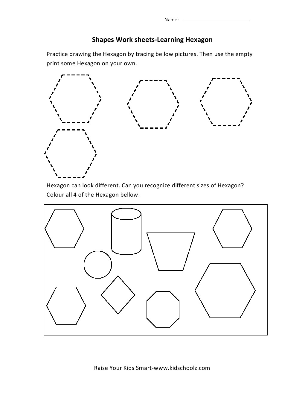 Printables Hexagon Worksheet learning shapes worksheets hexagon hexagon
