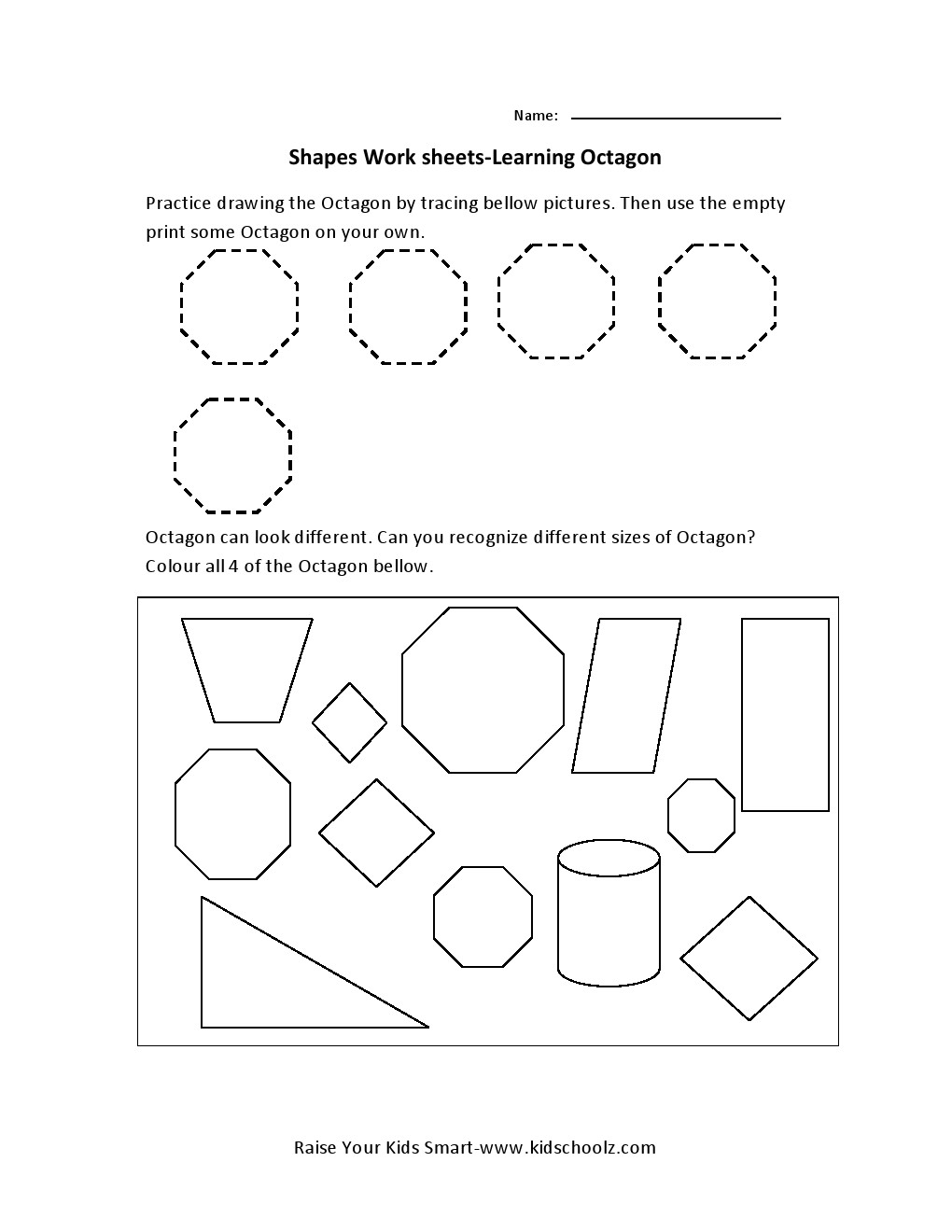 Learning Shapes Worksheets - Octagon -