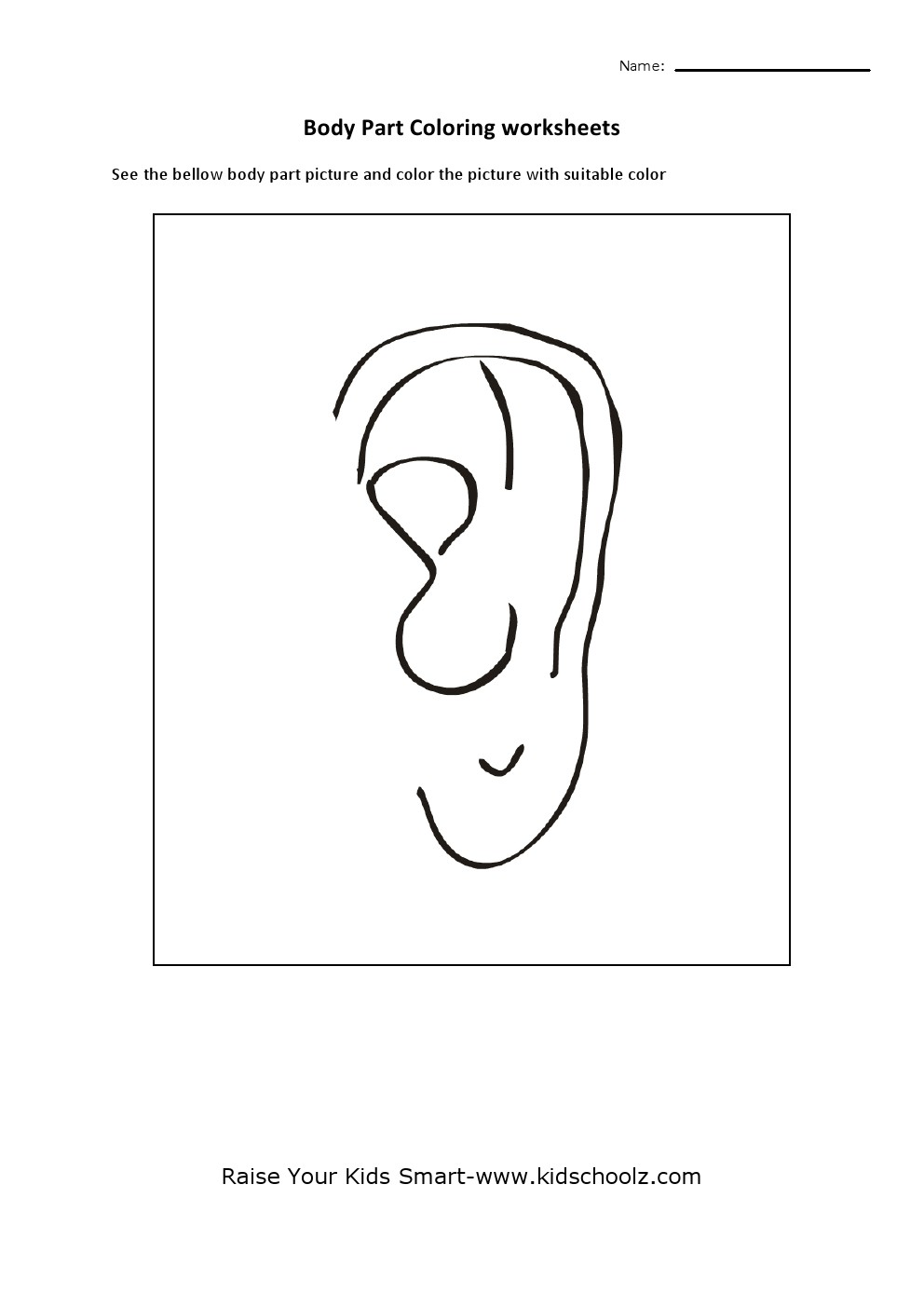 Colouring Pages Ears Human Body Parts Coloring
