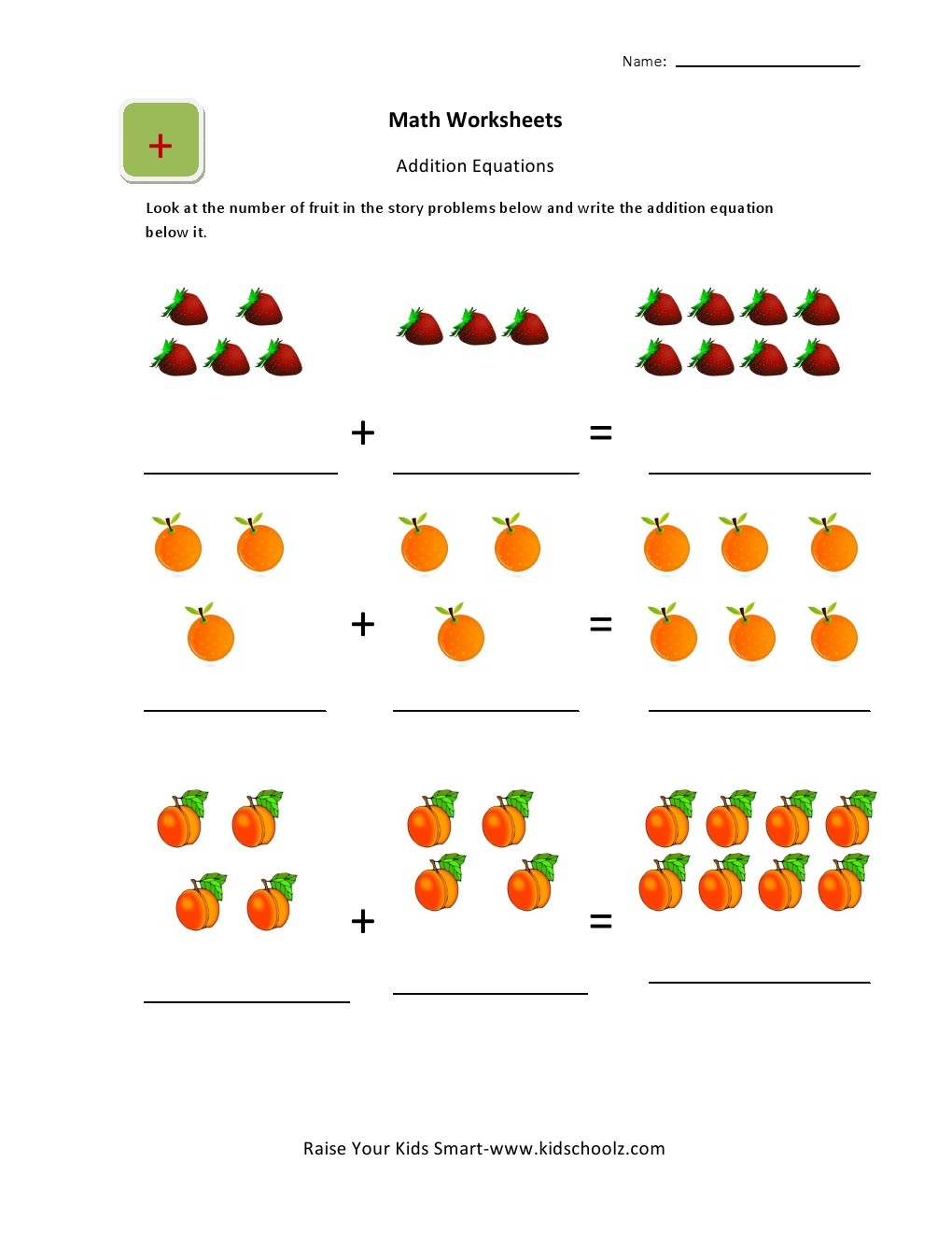 UKGBasic Picture Addition Worksheets for Kids – Addition Sentence Worksheets