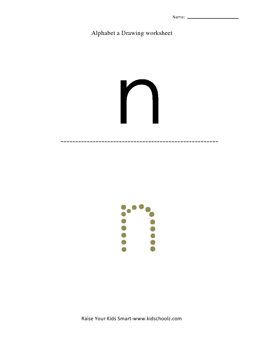 Free Worksheets dotted worksheets : Tracing Small Letter Alphabets - n - Kidschoolz