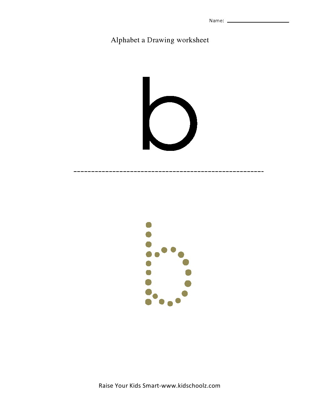 Tracing Small Letter Alphabets - b - Kidschoolz