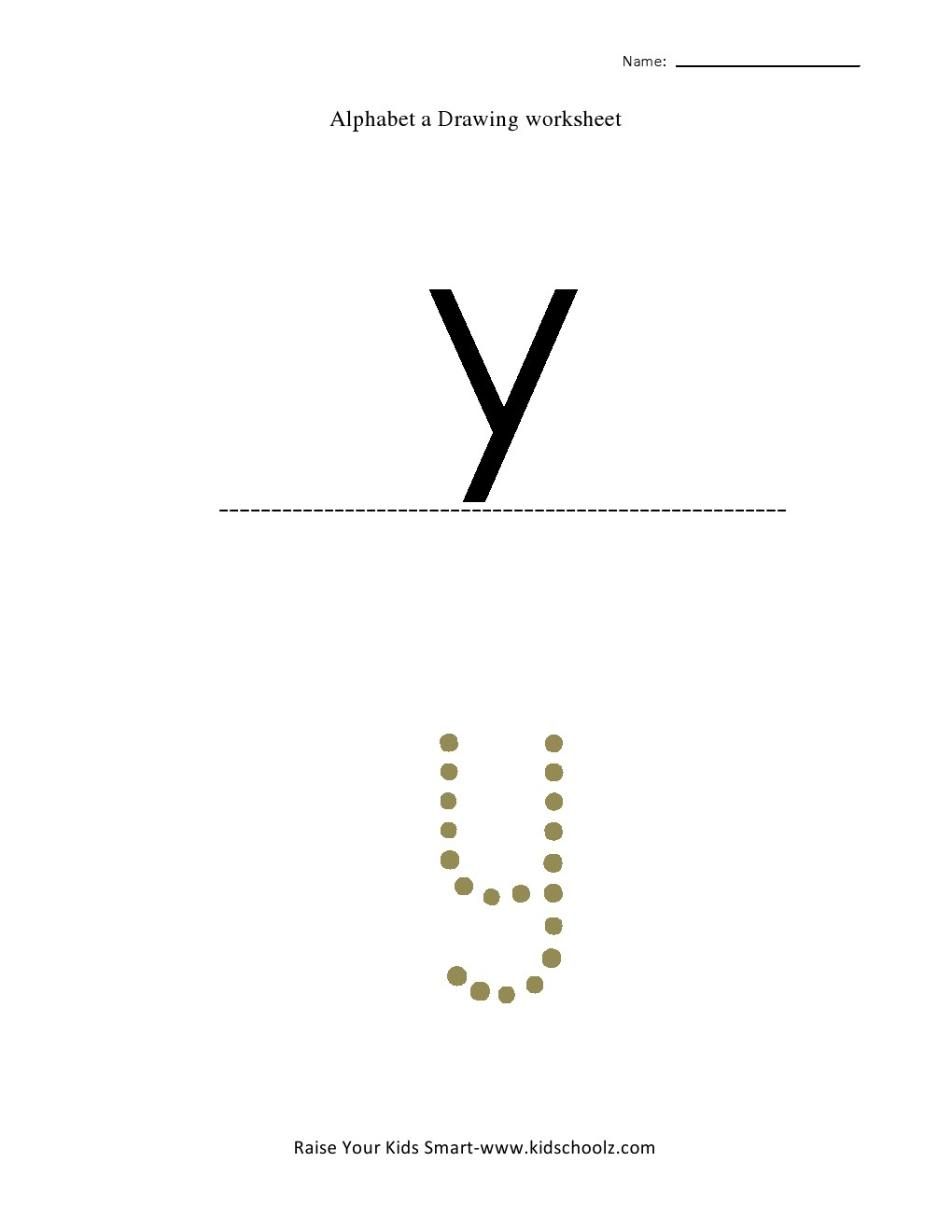 Tracing Small Letter Alphabets - y -