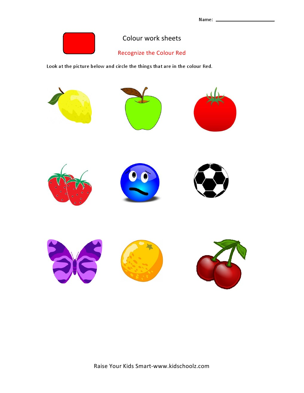Pictures Color Recognition Worksheets - Getadating