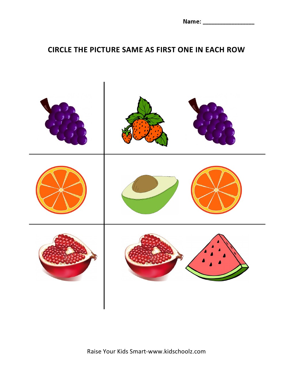 Circle The Matching Picture Worksheets - Fruits -