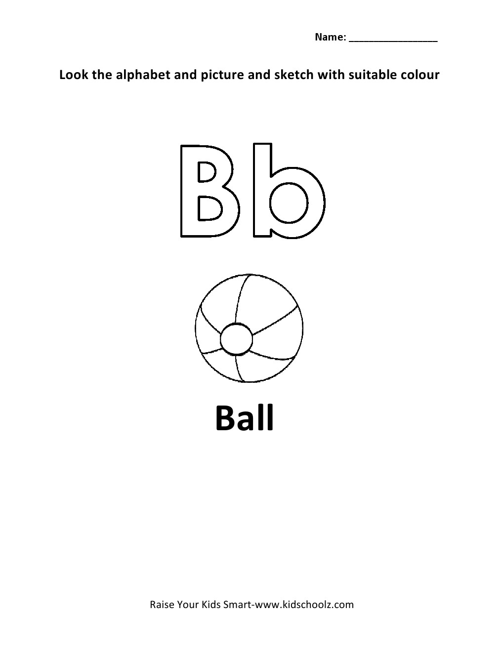 Alphabets Colouring Worksheets - B - Kidschoolz