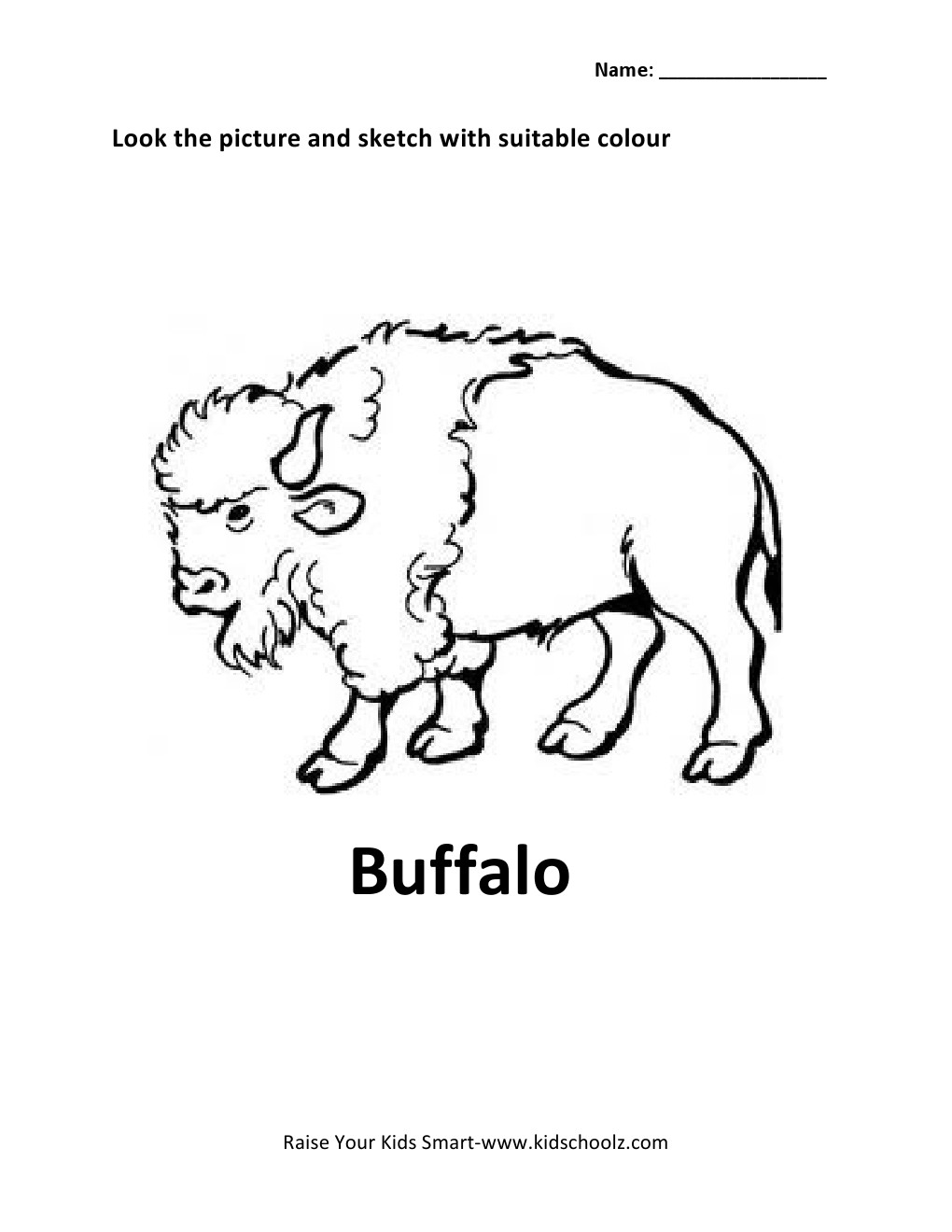 Animals Colouring Worksheets - Buffalo -
