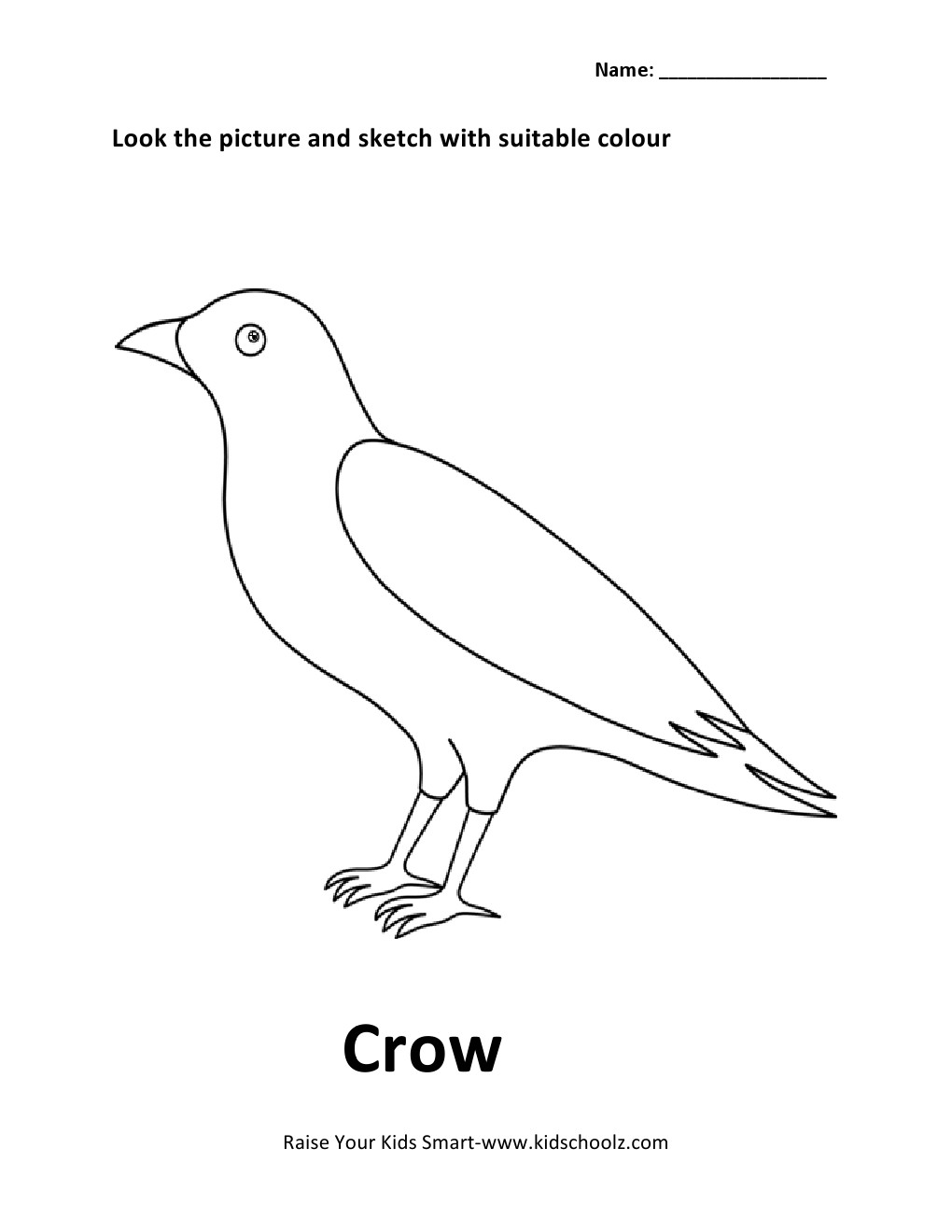 Birds Colouring Worksheets - Crow -