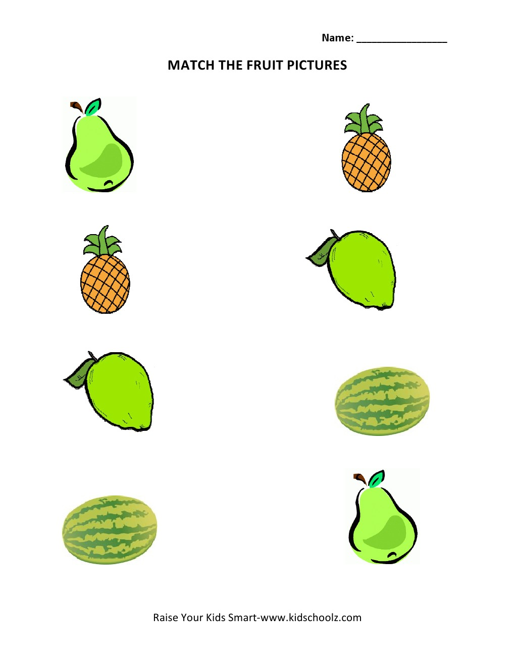 Picture Matching Worksheets - Fruits -