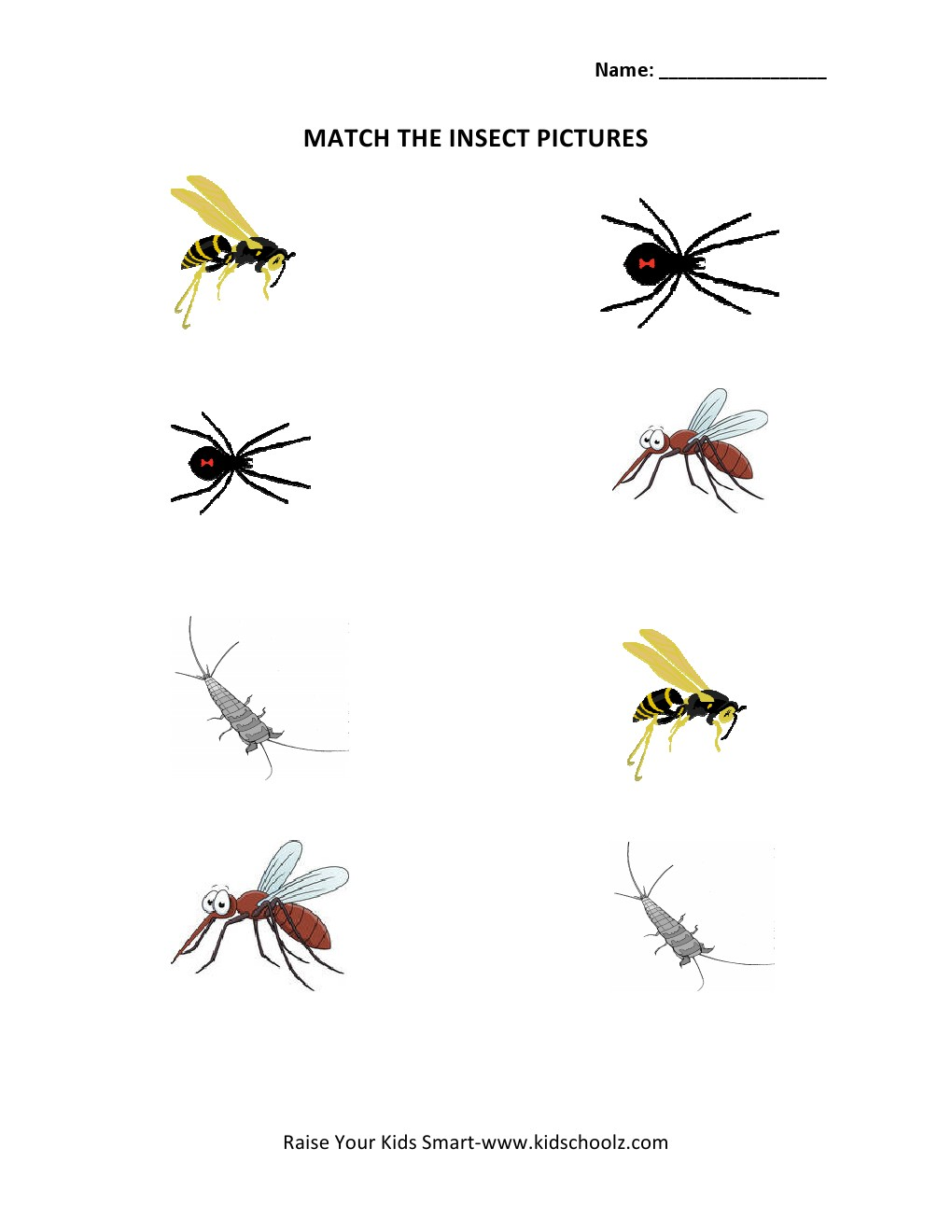 Picture Matching Worksheets Insects – Insect Worksheets for Kindergarten