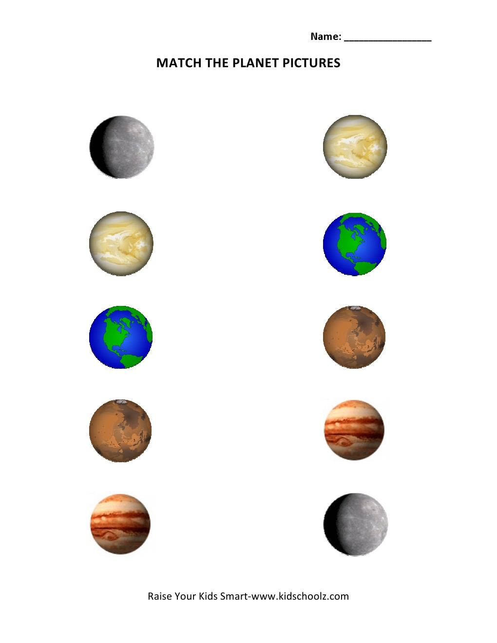Planets Matching Worksheet - Pics about space