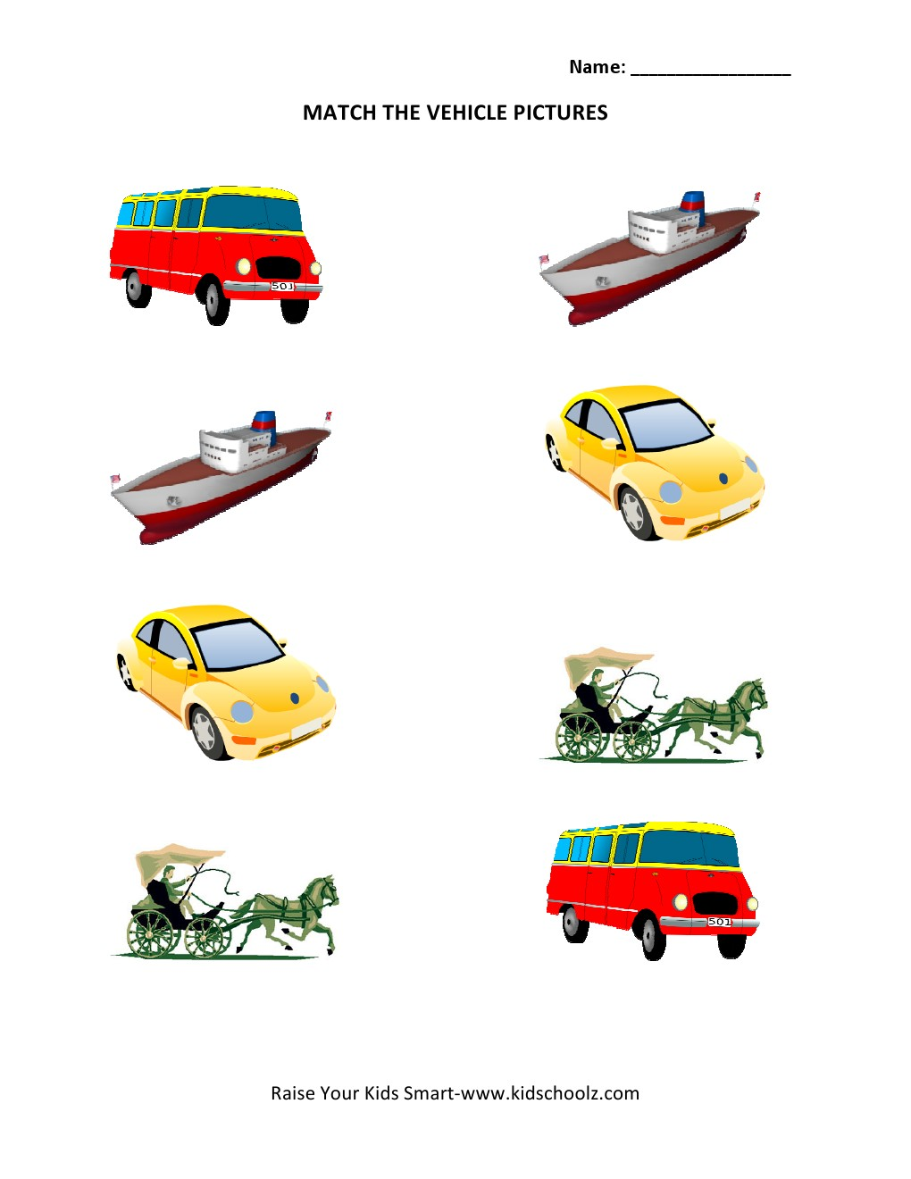 Preschool worksheets vehicles : Matching Vehicles Worksheets