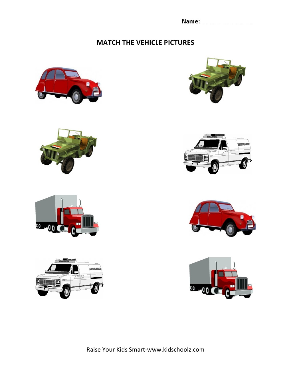 Picture Matching Worksheets Vehicles KidschoolzKidschoolz – Matching Worksheet