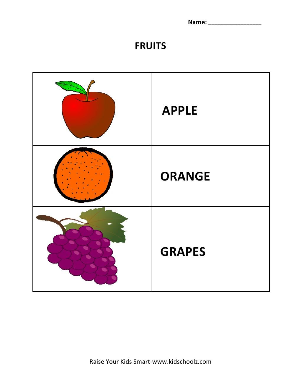 Learning Worksheets - Fruits