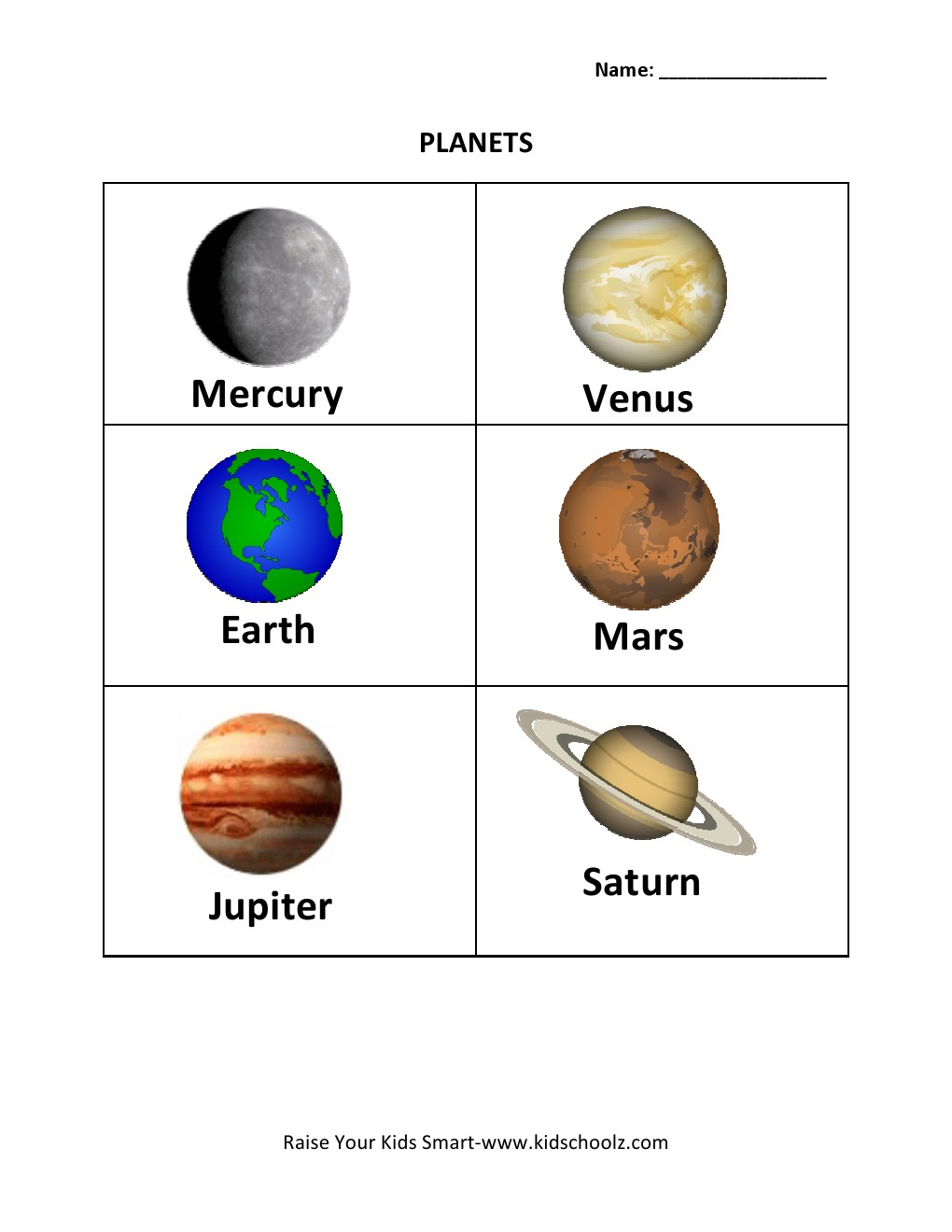 Identify Planets Worksheets (page 2) - Pics about space