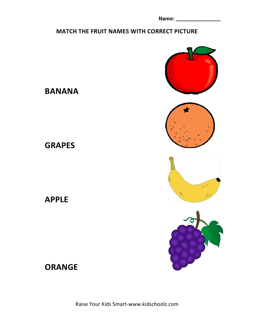 Picture To Name Matching Worksheets - Fruits -