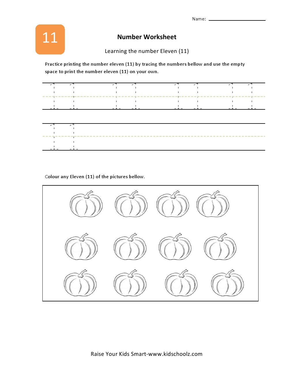 Number 11 Worksheet Pin numbers learning worksheets eleven on ...