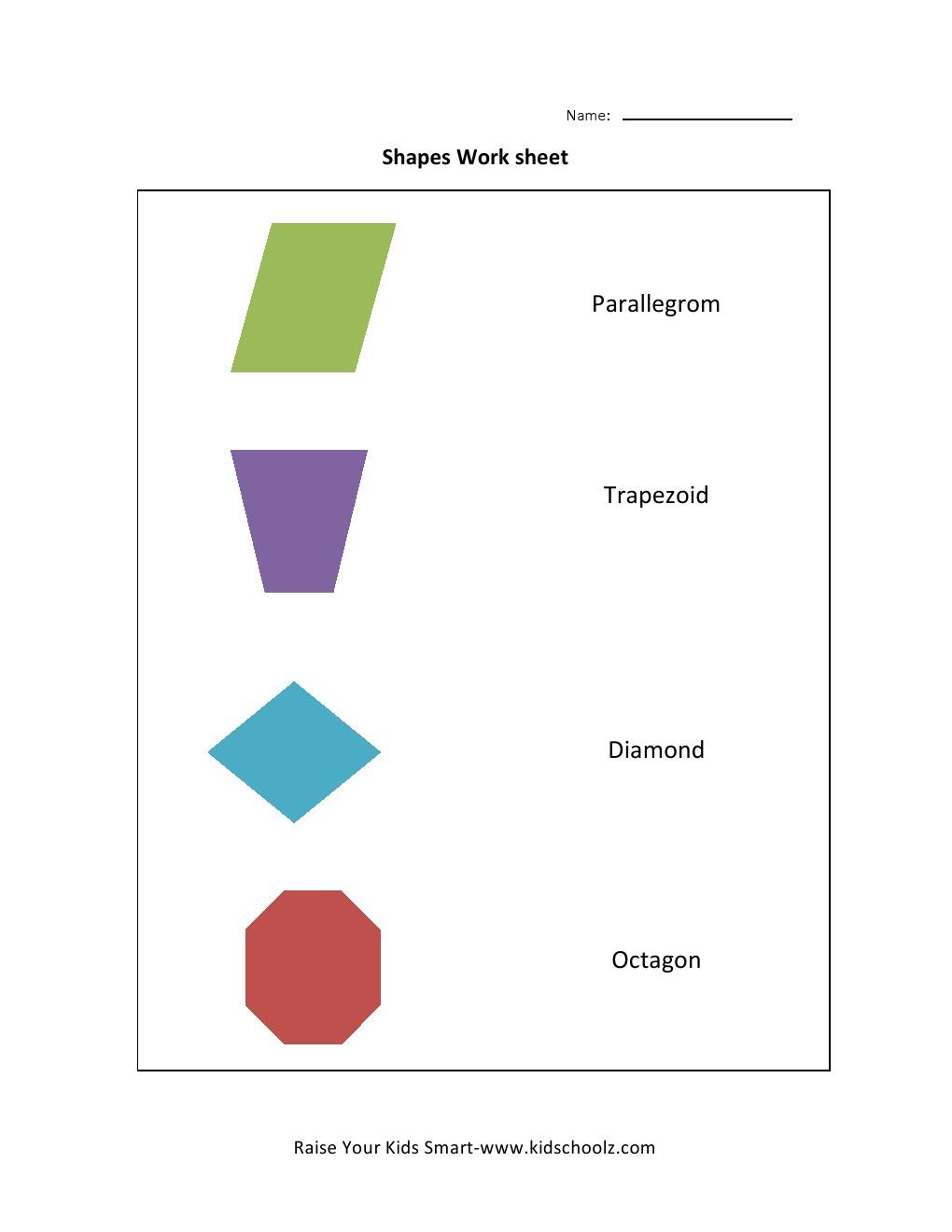 Free Worksheets year 2 shapes worksheet : Learning Shapes Worksheets 3 - Kidschoolz