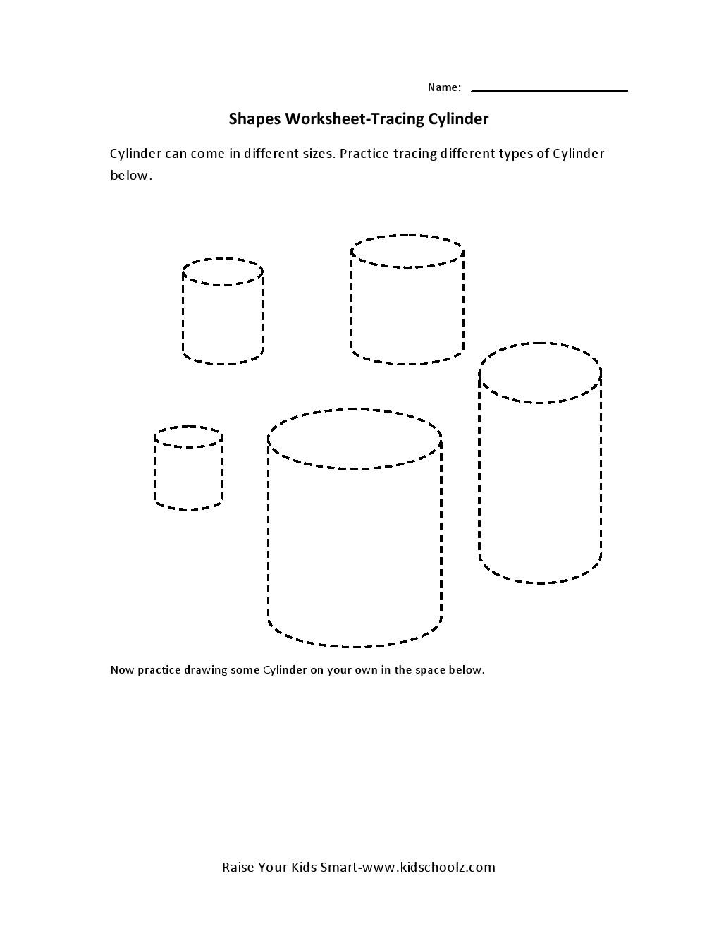 Workbooks shapes tracing worksheets preschool : Tracing Worksheets - Cylinder - Kidschoolz