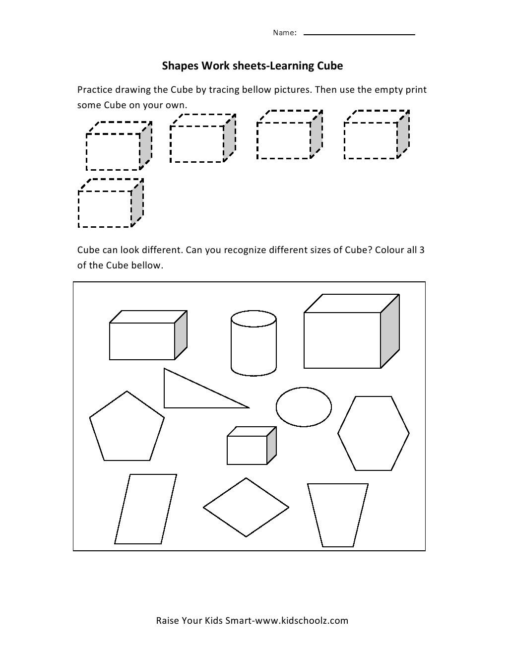 Workbooks shapes tracing worksheets preschool : Learning Shapes Worksheets - Cube - Kidschoolz