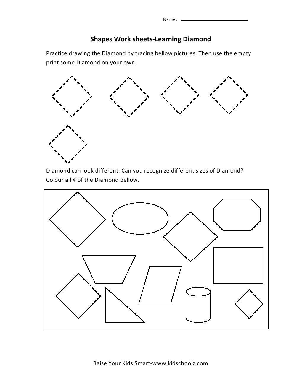 Workbooks shapes tracing worksheets preschool : Diamond Worksheets For Preschoolers. Diamond. Best Free Printable ...