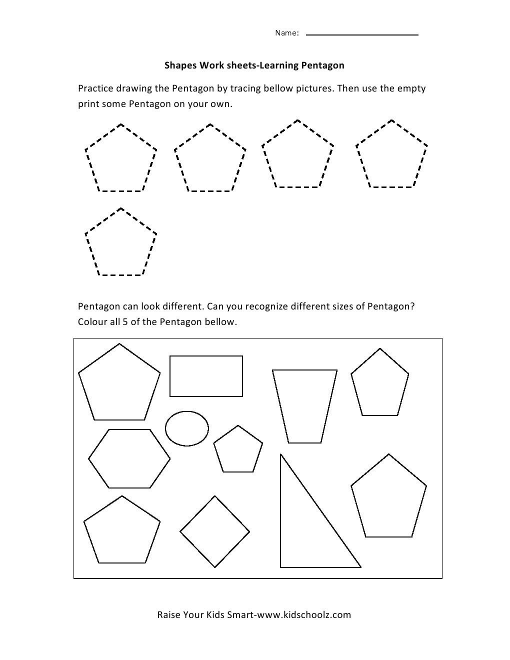 Learning Shapes Worksheets - Pentagon - Kidschoolz