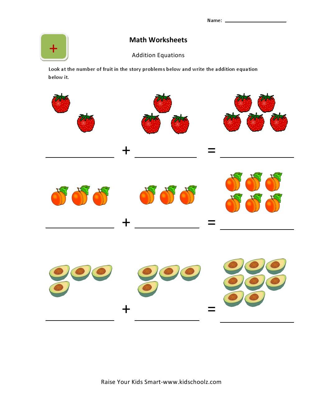 Workbooks lkg writing worksheets : Addition Picture Worksheets for UKG Kids - Kidschoolz