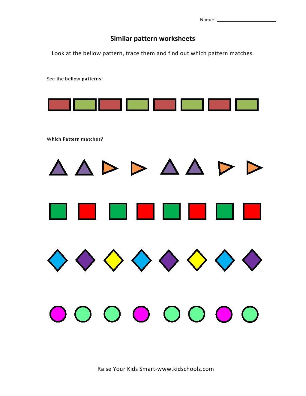 Workbooks ukg worksheets : UKG-Pattern Worksheets - Kidschoolz