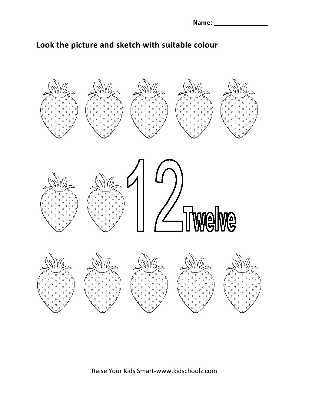 Numbers Colouring Worksheet Twelve Kidschoolz – Number 12 Worksheets