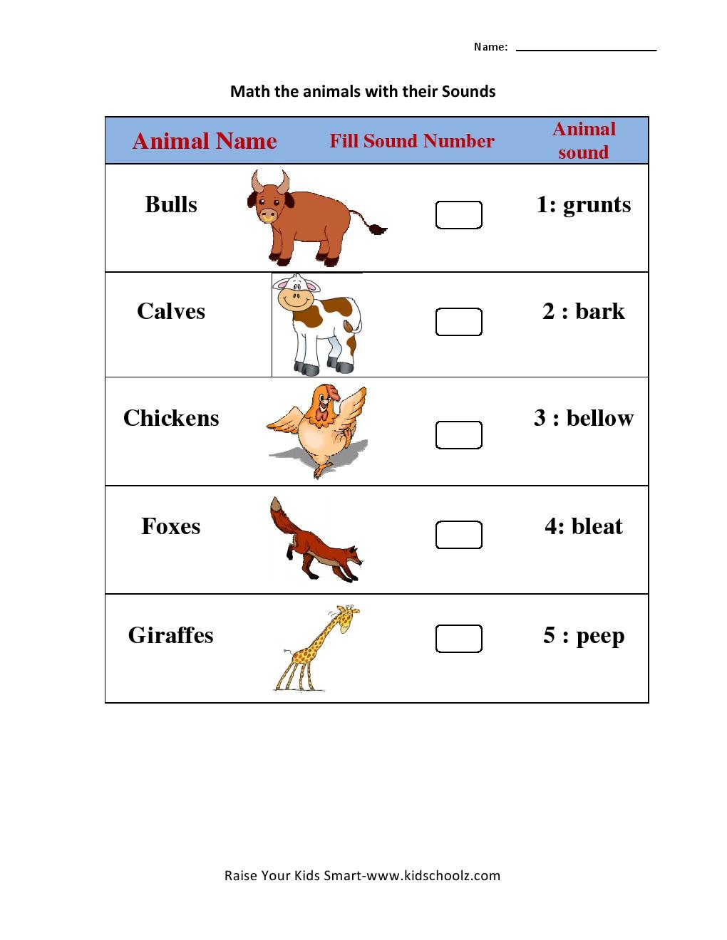 Workbooks matching preschool worksheets : Animal Sound Matching Worksheets 6 - Kidschoolz